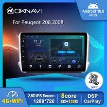 Android 10,0 Car Radio reproductor de vídeo para Peugeot 208, 2008, 2014-2018 Auto GPS estéreo navegación DSP OBD Carplay No 2 din DVD 9