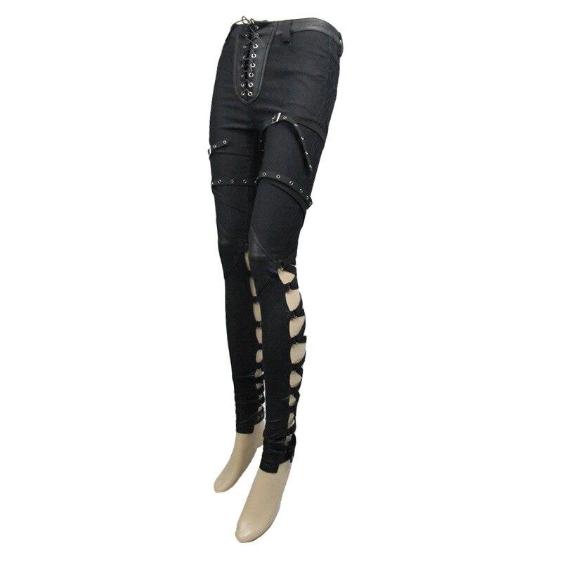 Панк рок одежда для женщин черные обтягивающие облегающие хлопковые длинные узкие брюки стрейч брюки для женщин - 5