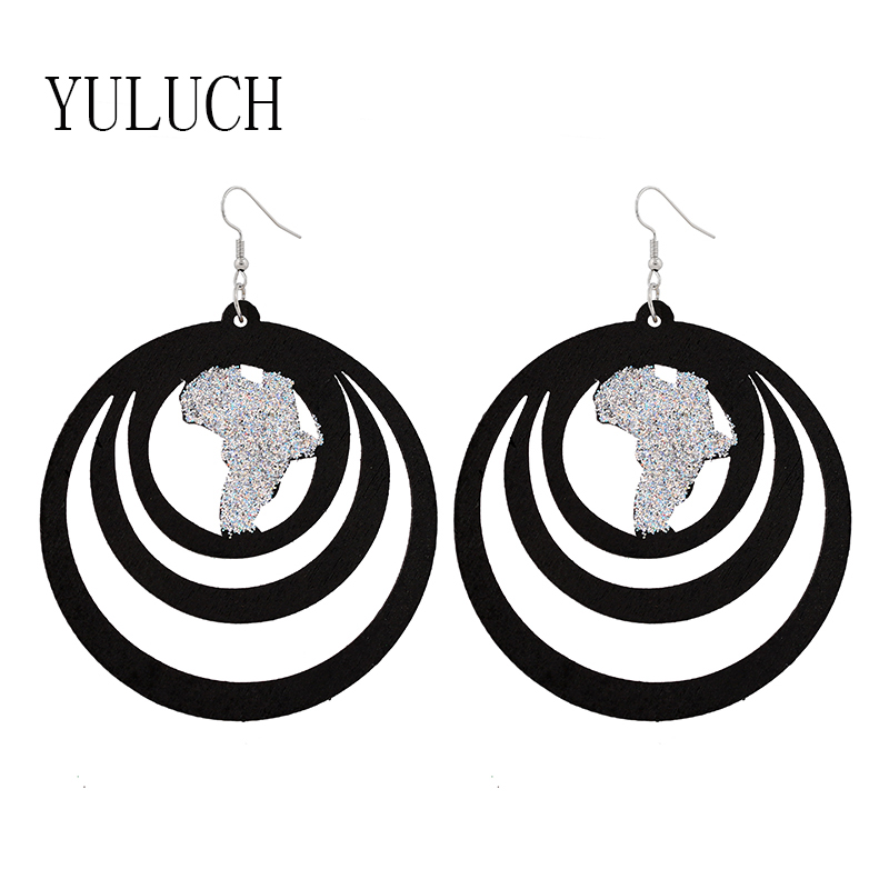 YULUCH Woman earrings wood Glitter hollow out round earrings Woman wood Glitter pendant earrings party accessories woman retro