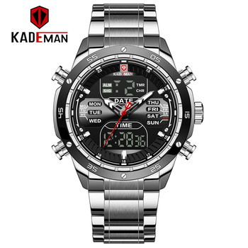 Relogio Masculino KADEMAN Top Brand Men Military Sport Watches Mens LED Analog Digital Watch Male Army Stainless Quartz Clock mens watches to luxury brand men leather sports watches kademan men s quartz led digital clock waterproof military wrist watch