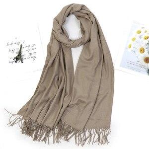 Image 5 - Kobiety jednolity kolor moda zimowy szal szal gruby Tassel hidżab szalik wino czerwony szary Khaki ciepła szyja WrapsLady Pashmina Bandana