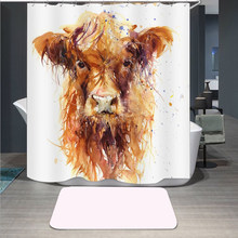 Highland Cow 3D Print Shower Curtain Polyester Fabric Bathroom Curtain Waterproof Hook Bath Curtain 04(China)