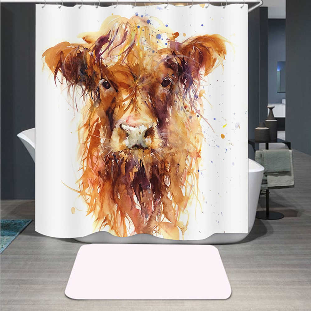 highland cow 3d print shower curtain