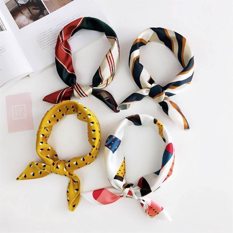 Hot Women Small Scarf Print Satin Hair Ribbons Bag Wrist Ribbon Head-Neck Wrap Women Hair Band Hair Scarves DIY Hair Accessories
