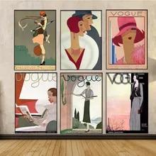 Arte da parede decoração da lona quadros poster vintage e impressões pinturas retro arte vogue moda feminina cartaz para sala de estar