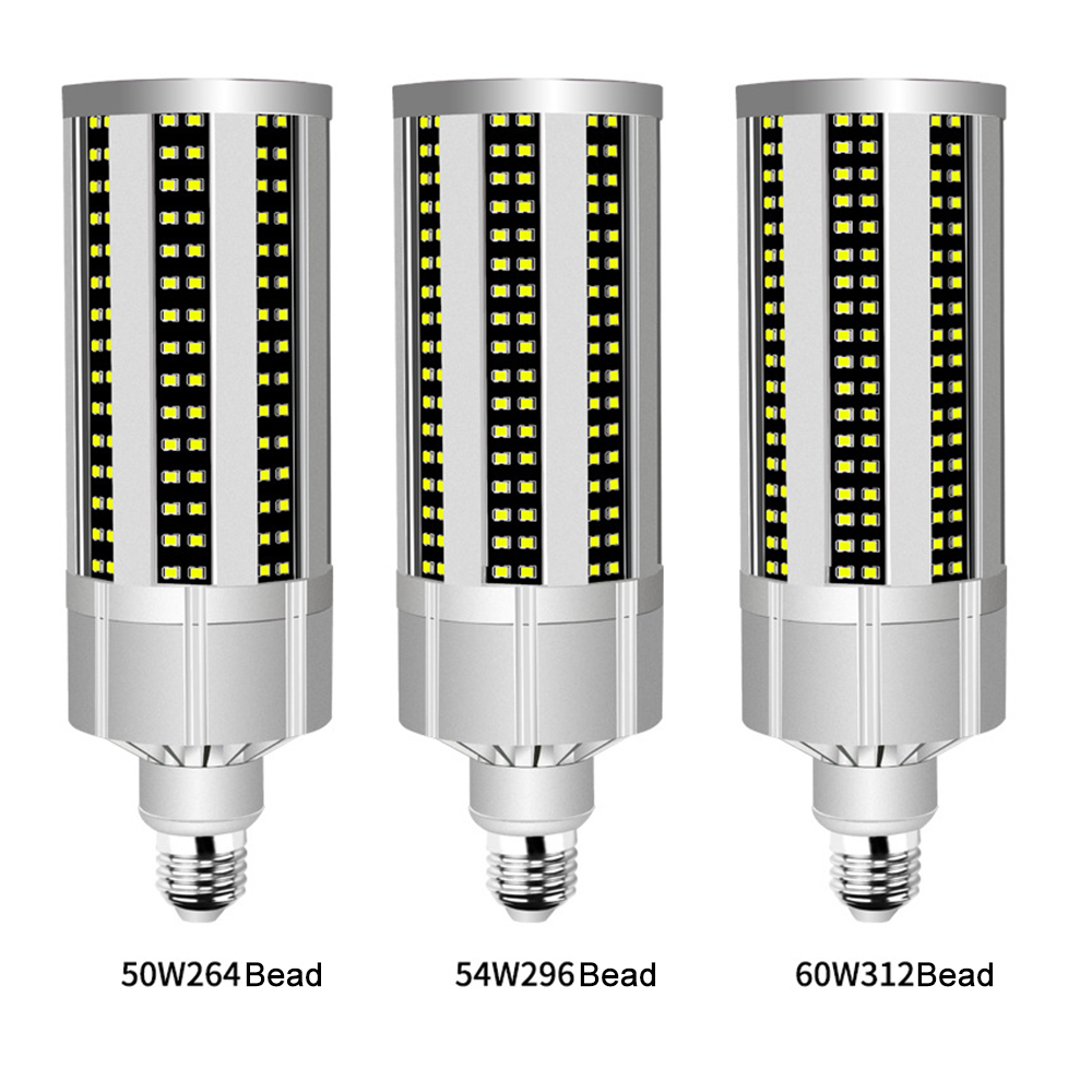 50W/54W/60W Super Bright Corn LED Light Bulb with E27 Large Mogul Base Adapter for Large Area Commercial Ceiling Lighting