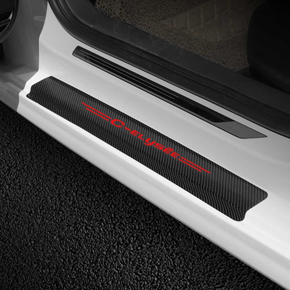 4 adet/takım araba Styling araba kapı eşiği çıkartmalar koruma filmi Citroen c-elysee için otomatik kapı eşiği koruyucu dekor aksesuarları