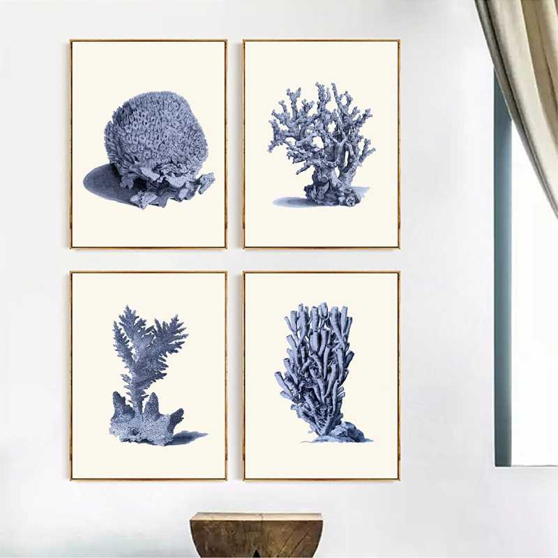 Navy Blue Coral Posters And Prints Sea Marine Life Vintage Bathroom Wall Art Canvas Painting Wall Pictures For Home Decor Painting Calligraphy Aliexpress