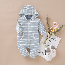 купить Baby Hooed Newborn Infant Baby Boy Girl Hooded Striped Romper Jumpsuit with Pocket Outfits 2019top по цене 691.04 рублей