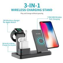 3 In 1 QI 10W Fast Charger Wireless Charging Dock Station Stand for iPhone X XS MAX 11 Apple Watch 4 3 2 1 Airpods 1 2 Samsung(China)