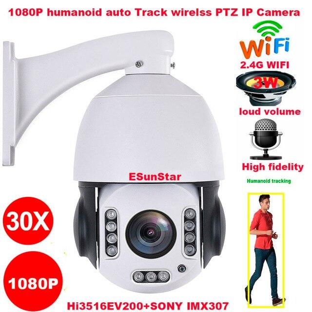 CamHi cámara inalámbrica con Zoom 1080P 30X, 2MP, humanoide, seguimiento automático, SONY IMX 307 PTZ, domo de velocidad, IP, micrófono incorporado, altavoz SD de 32, 64 y 128gb