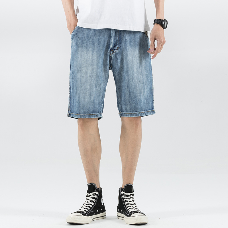 Summer New Style Shorts Straight-Cut No Bombs Joint Light Blue Watermelon Article Harem Jeans Large Size