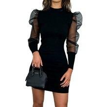 Mini robe moulante à col roulé pour femme, tenue de soirée élégante, en maille, manches longues bouffantes, à la mode, printemps, 2020