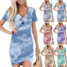Summer New Ladies Casual Sexy Age-Reducing Hedging Mid-Waist Short-Sleeved Irregular V-Neck Tie-Dye Printed Dress 2021