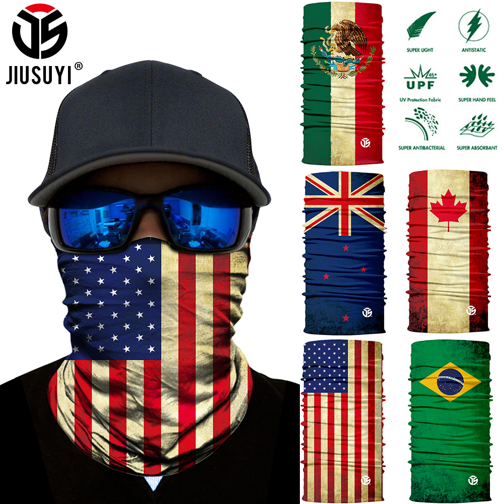 3D National Flag Print Scarf Neck Gaiter Bandana Circle Loop Summer Sun Protective Neck Tube Ring Scarves Men Headwear Balaclava