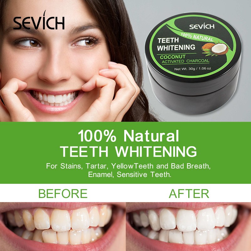 Sevich Tooth Coconut Powder Nature teeth whitening Dental Oral Care 30g Charcoal Teeth Whitening Powder Organic Activated Bamboo