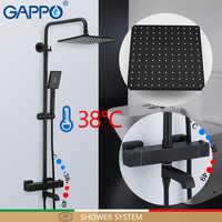 GAPPO Душевая система черный набор для душа для ванной смесители водопад Термостатический смеситель для душа настенный смеситель для ванной