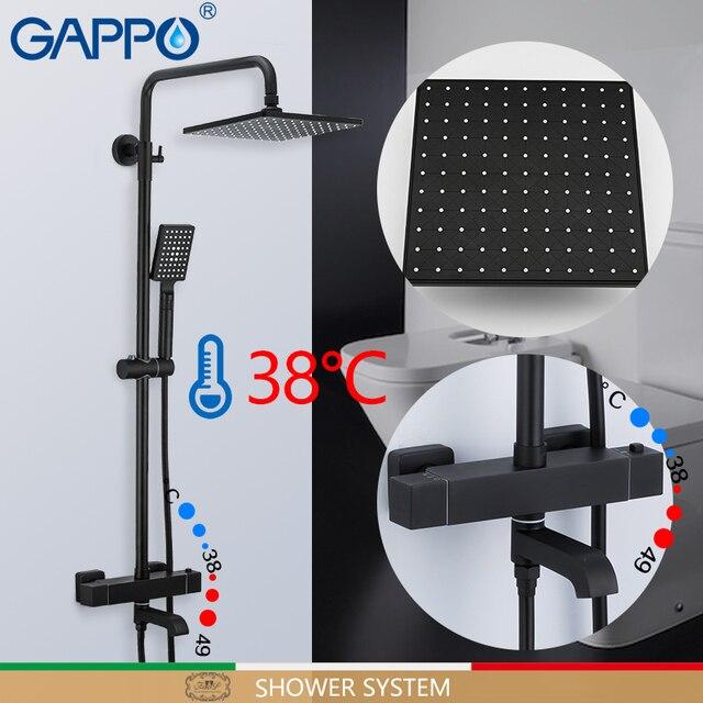 Смеситель для душа GAPPO, черный Термостатический смеситель для душа с водопадом