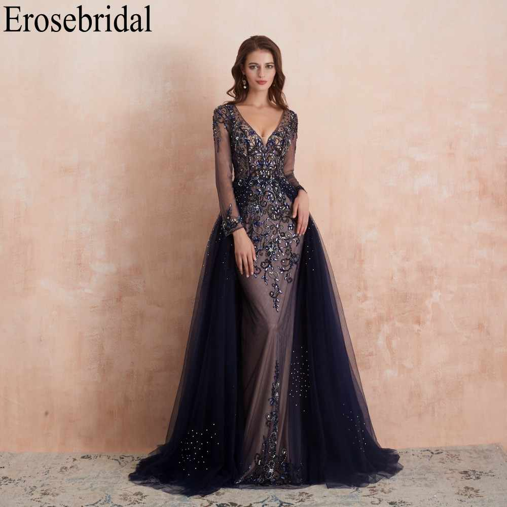 Erosebridal A Line Beading Evening Dress 2019 Long Navy Champagne Grey Red 4 Colors Sheer V Neck  robe de soiree Drop Shipping