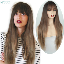 Long straight wig with Bangs Dark Brown Synthetic Ombre blonde hair 28 inches natural straight wig For Women high heat resistant emmor long dark brown ombre wavy synthetic hair wigs with bangs high temperature layered fluffy daily wig for women