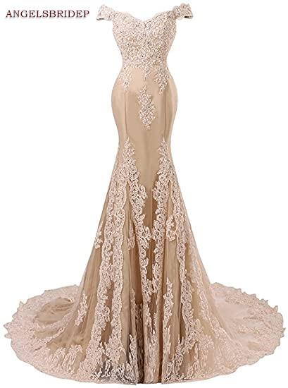 ANGELSBRIDEP Off Shoulder Mermaid Prom Dresses Fashion Applique Crystal Court Train Vestidos de festa Abendkleider Party Gowns