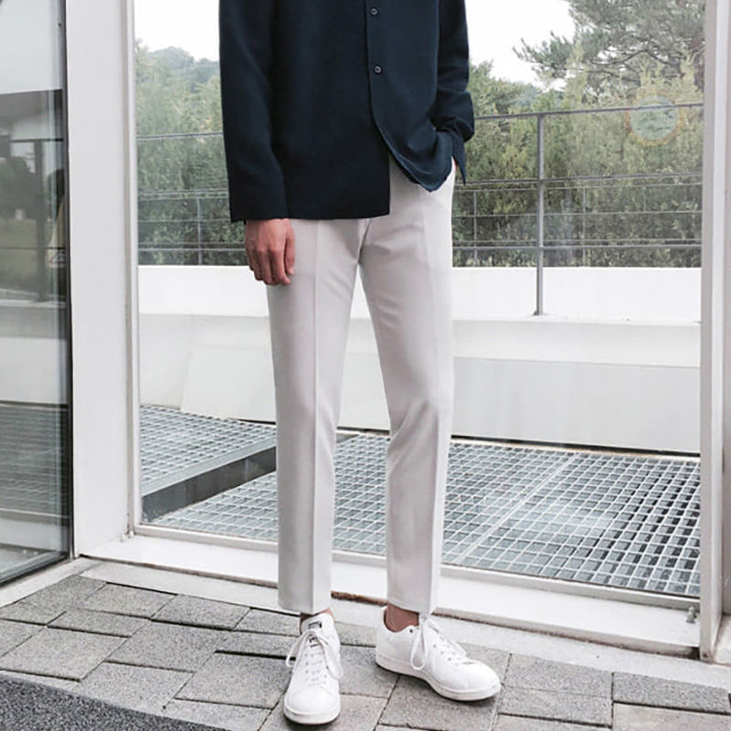 2020 Korean Style Men's Slim Fit Skinny Casual Pants High-quality Suit Pants Grey/black Color Fashion Trousers Plus Size M-2XL