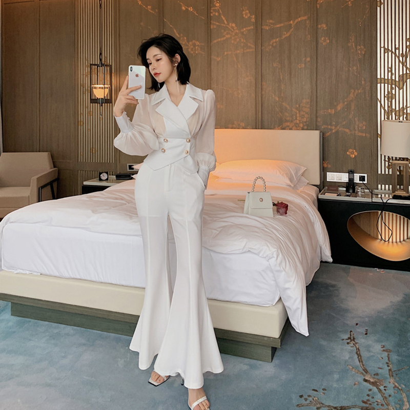 New Arrival Women Temperament Two-piece Set Perspective Shirt And Long Pant Fashion High Quality Cute Solid Summer Women Set