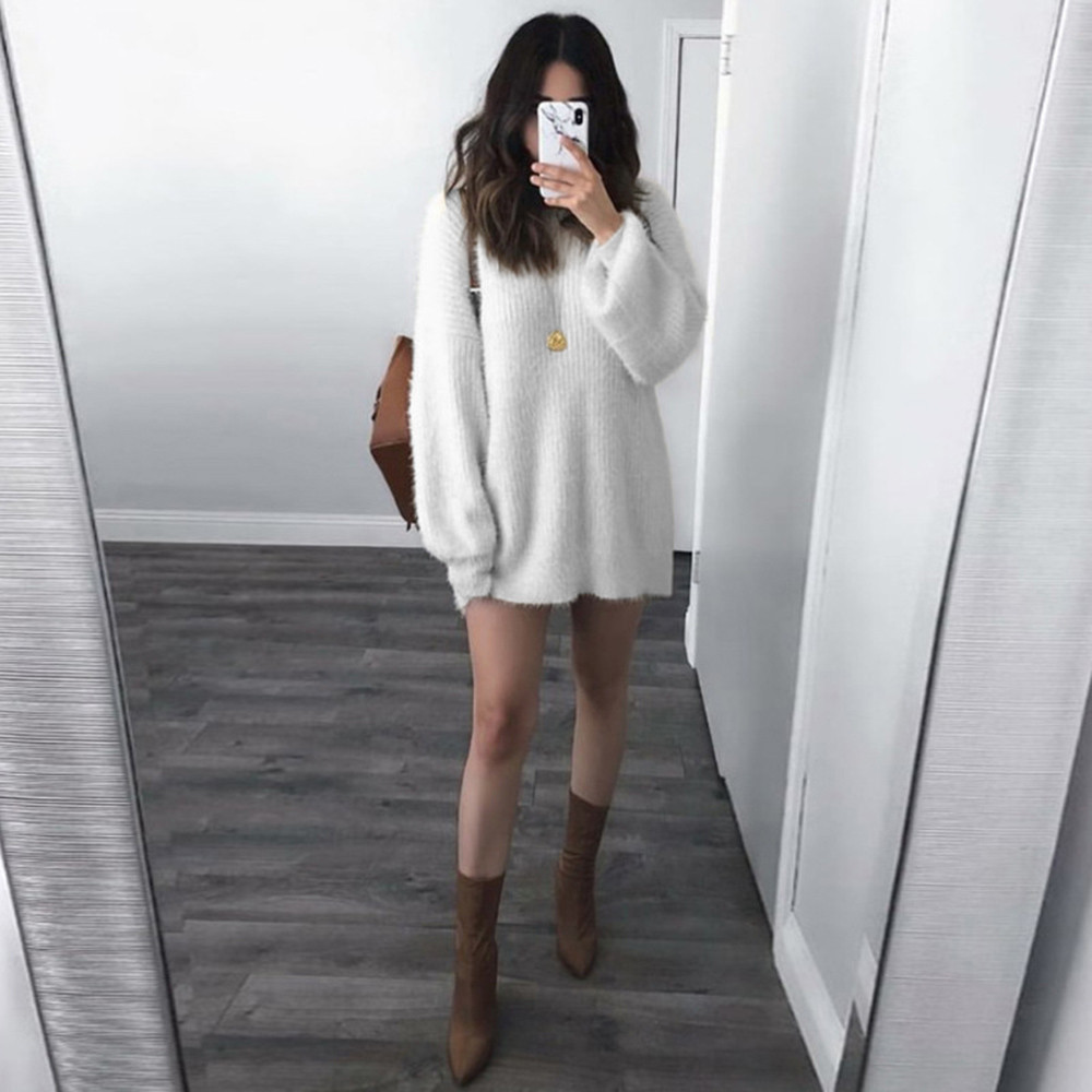 Cashmere For Women Plus Size Fashion Women Solid O-Neck Loose Knit Sweater Women Warm Long Latern Sleeve Elegant Sweater Blouse