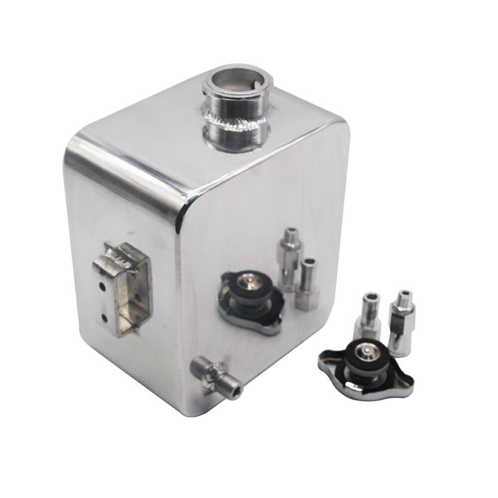 Universel 2L Litre en alliage poli en-tête Expansion réservoir d'eau et bouchon réservoir d'eau en-tête liquide de refroidissement réservoir de débordement réservoir Kit - 3