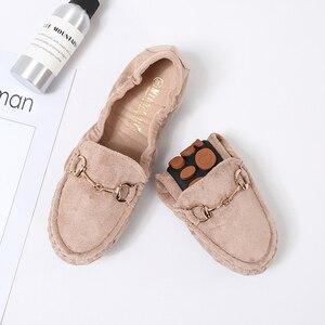 Image 3 - 2020 נעלי בלט דירות נעלי אישה חורף צאן מוצק מוקסינים מוקסינים אפונה בפלאש אגרול דירות הנעלה רך אמא שטוח