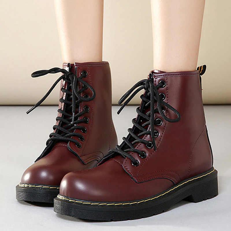 Moda motosiklet çizmeler kadın ayakkabıları için martin bilekli çizme kadın kışlık botlar deri Punk sıcak kürk kadın patik artı boyutu 43