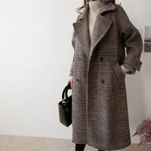 2019 Autumn Winter Thick Plaid Long Woolen Coat Women Houndstooth Loose Trench Female Plus Size Overcoat