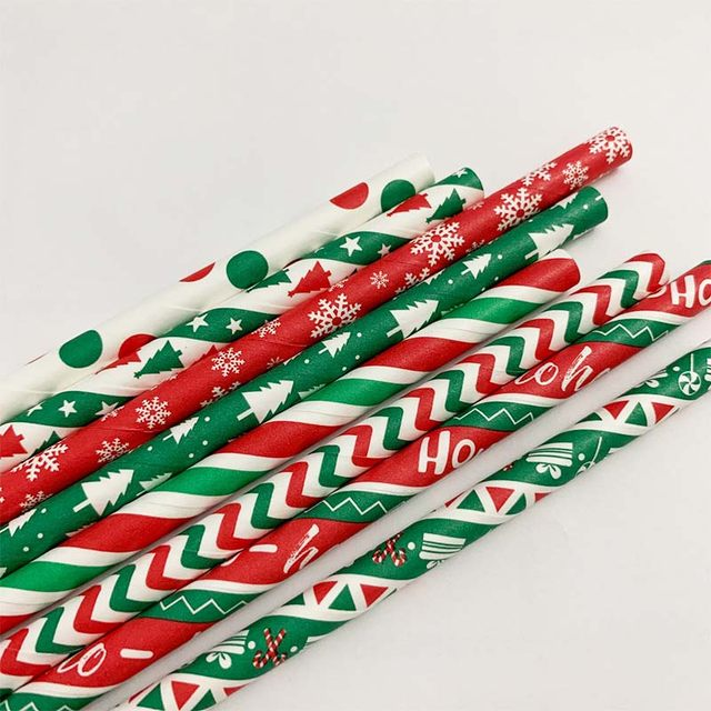 25pcs Paper Drinking Straws Snowflake Paper Straw Merry Christmas Decoration For Home Happy New Year Xmas Party Tableware 2020 19