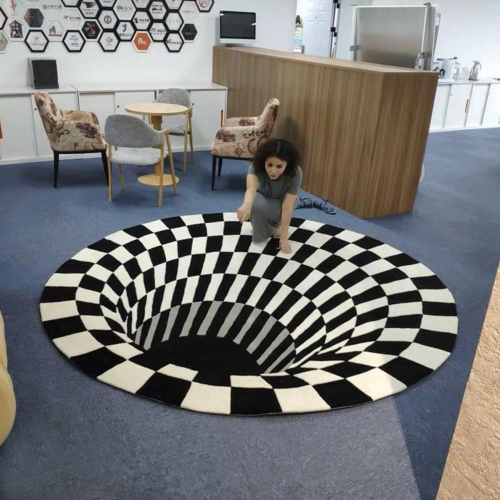 3D Bottomless Hole Optical Illusion Area Rug Carpet Floor Mat 40//60//80//100//160CM