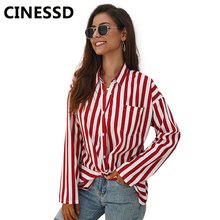 CINESSD Women Chiffon Blouse Striped Tops Turn Down Collar Long Sleeves Pocket Casual Tee Shirts Button Cardigan Loose Blouses