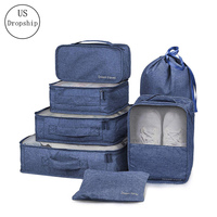 High Quality Cation Cloth 7PCS/Set Travel Mesh Bag In Bag Luggage Organizer Packing Cosmetic Bag Cube Organiser Clothing Bags