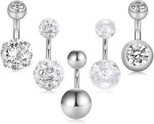 5 Pcs 6mm Short Belly Button Rings Stainless Steel Petite Navel Rings 5 Style for Women Girls 14G Body Piercing