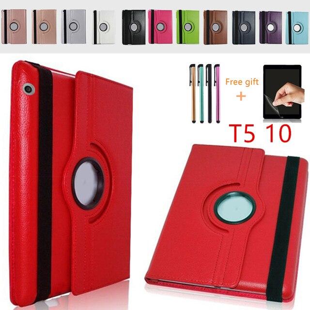 MediaPad T5 360 obrotowy odwróć stań skórzany pokrowiec dla Huawei MediaPad T5 10 AGS2-W09/L09/L03/10.1 cal Tablet Case + Film + długopis