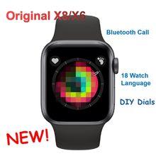 X8 x6 relógio inteligente das mulheres dos homens série 5 relógio diy rostos de fitness rastreador freqüência cardíaca monitor pressão arterial smartwatch vs w26 iwo 12