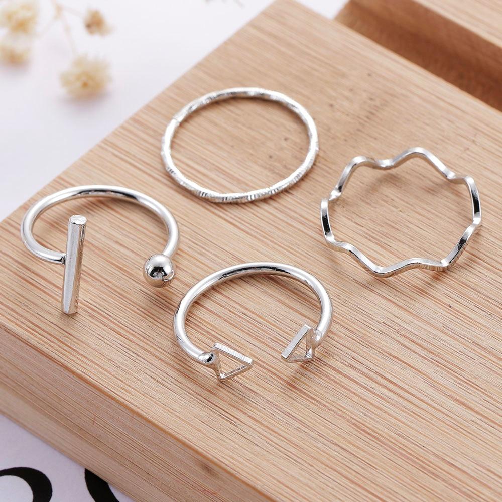 Набор открытых колец 4 шт./компл., металлические регулируемые перстни, геометрический алфавит, женские креативные кольца на палец в стиле па...