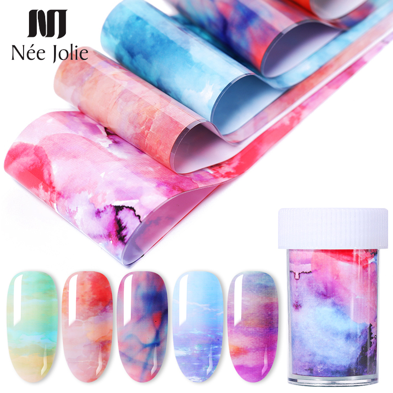 1 Roll 4*100cm Gradient Colors Nail Foils Mixed Patterns Transfer Stickers Sheet 4*50cm Decoration for Nal Art