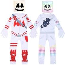Kids Children Marshmello DJ Cosplay Costume Zentai Bodysuit Suit Jumpsuits Mask Halloween