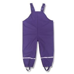 Image 5 - Brand Waterproof Polar Fleece Padded Baby Girls Boys PU Rain Pants Warm Trousers Children Outerwear Kids Outfits For 85 130cm