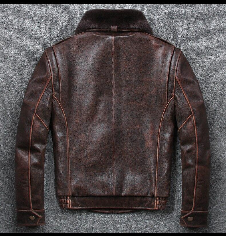 Hde2a36362ed5425c990939b3dbff68beg 2019 Vintage Men's G1 Air Force Pilot Jackets Genuine Leather Cowhide Jacket Plus Size 5XL Fur Collar Winter Coat for Male
