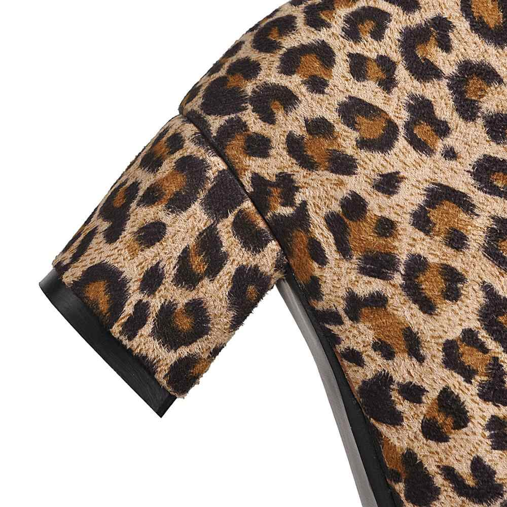 MEMUNIA Artı boyutu 34-43 Yeni kadın botları leopar baskı kalın yüksek topuklu sonbahar çizmeler kadın ayakkabısı yarım çizmeler