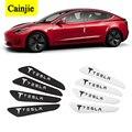4pcs Auto Car Door Guard Edge Corner Protector Guards Buffer Trim Crash Bar Strip For Tesla Model 3 Y S X LOGO