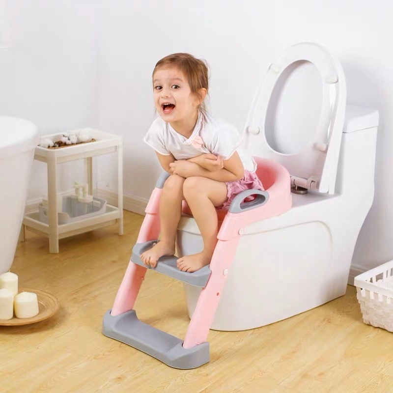 Folding Infant Potty Seat Urinal Backrest Training Chair with Step Stool Ladder for Baby Toddlers Boys Girls Safe Toilet Potties 2
