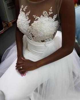 Mermaid Wedding Dresses African Sheer Neck Bridal Dress Zipper Back Appliques Lace Detachable Train wedding Gown