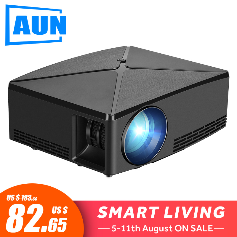 AUN MINI Projector C80 UP, 1280x720 Resolution, Android WIFI Proyector, LED Portable 3D Beamer for 4K Home Cinema, Optional C80 hand jet printer price