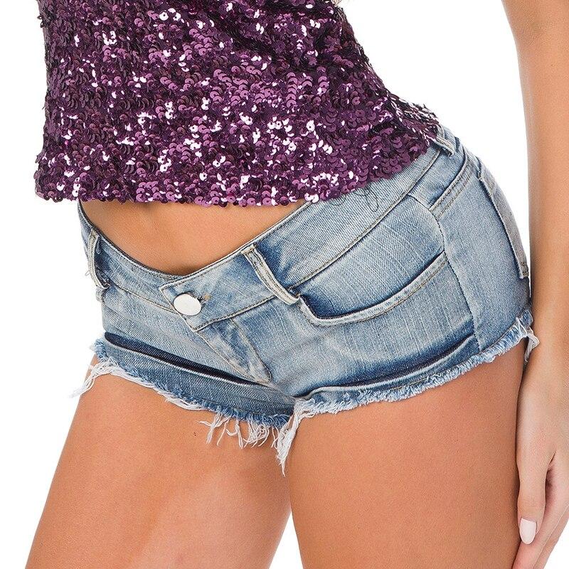2020 Summer Women Low Waist Push Up Micro Short Jeans Femme Mini Shorts Sexy Tassel Night Club Denim Shorts Female Thong Jeans